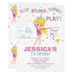 Gymnastics Birthday Party Unicorn Blonde Girl Invitation