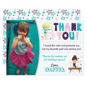 Gymnastics Birthday Thank You Card with Photo