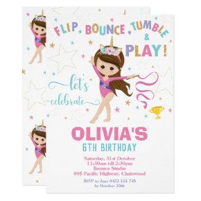 Gymnastics Birthday Unicorn Girl Gymnastics Party Invitation