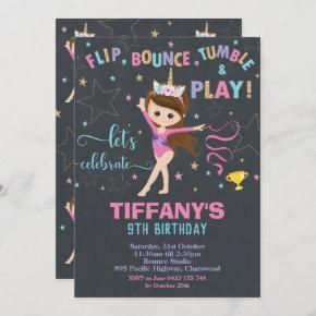 Gymnastics Birthday Unicorn Girl Gymnastics Party Invitation