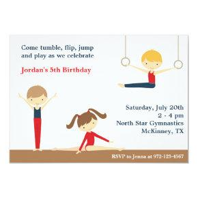 Gymnastics Boy and Girl Birthday Party Invitation