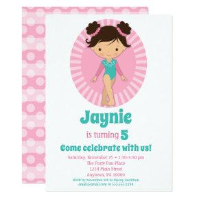 Gymnastics - Brunette Gymnast Pink Birthday Party Invitation