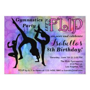 Gymnastics Flip Girls Birthday Party Invitation