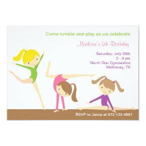 Gymnastics Girls Birthday Party Invitations