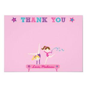 Gymnastics Girls Thank You Cards