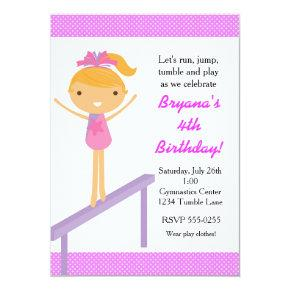 Gymnastics Girls Tumble Birthday Party Invitation
