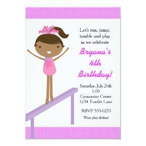 Gymnastics Girls Tumble Birthday Party Invitations