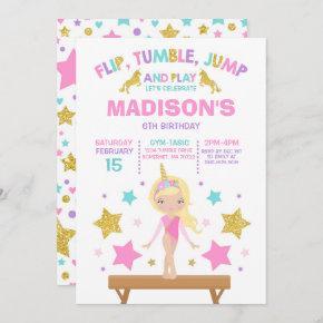 Gymnastics Invitation Unicorn Gymnastics Party