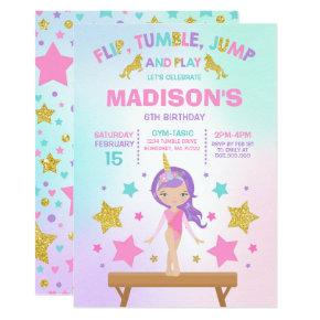 Gymnastics Invitation Unicorn Gymnastics Party