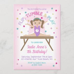 Gymnastics Jump Birthday Party Brunette Invitation