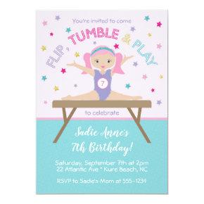 Gymnastics Jump Birthday Party Invitation
