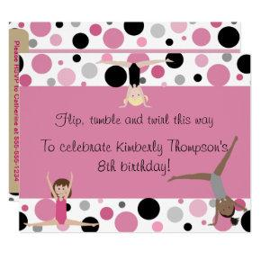 Gymnastics Party In Pink, Gray & Black Card
