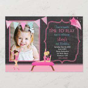Gymnastics Pendants Birthday Invitation