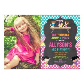 Gymnastics tumbling party birthday party photo invitation