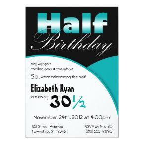 half birthday teal party invitations