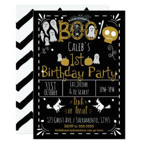 Halloween 1ST Birthday Party Modern Whimsical Invitation