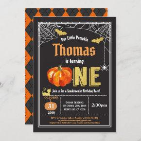 Halloween baby 1st first birthday party Black gold Invitation