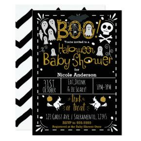 Halloween Baby Shower Modern Whimsical Hand Drawn Invitation