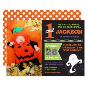 Halloween Birthday Invitations with Photo