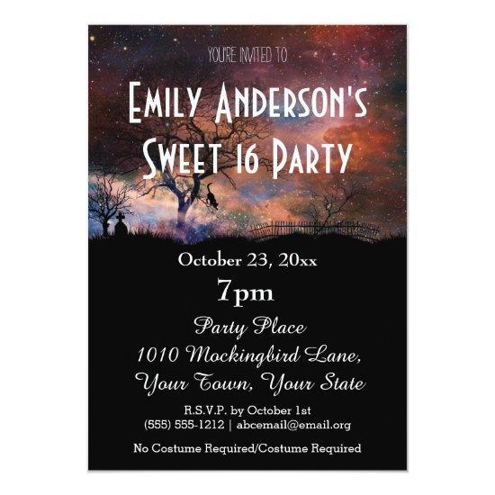 Halloween Galaxy Costume Sweet 16 Birthday Invitations