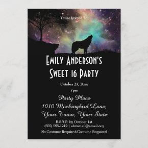 Halloween Galaxy Wolf Costume Sweet 16 Birthday Invitation