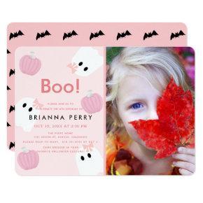 Halloween Ghost Girl Pumpkin Pink Photo Birthday Invitation
