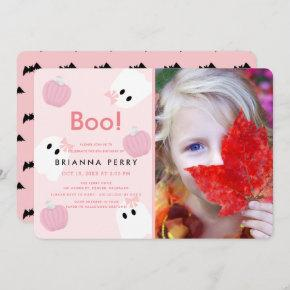 Halloween Ghost Girl Pumpkin Pink Photo Birthday Invitation