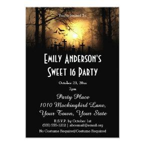 Halloween Graveyard Costume Sweet 16 Birthday Invitations