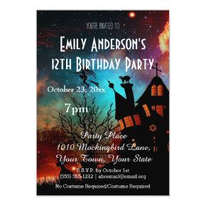 Halloween Haunted House Cosmic Birthday Invitation