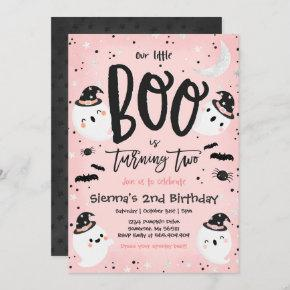 Halloween Little Boo Pink Ghost 2nd Birthday Party Invitation