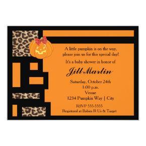 Halloween Orange & Leopard Baby Shower Invitation