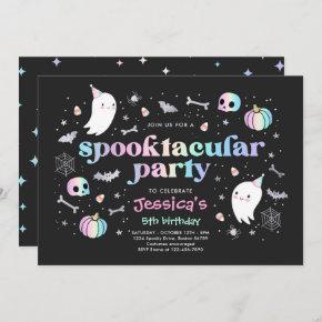Halloween Pastel Cute Ghost Birthday Spooktacular Invitation