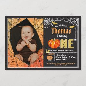 Halloween pumpkin baby boy 1st birthday photo invitation
