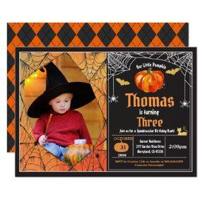 Halloween pumpkin kid birthday party photo invitation