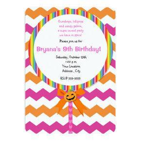 Halloween Pumpkin Pink Chevron Lollipop Invitation