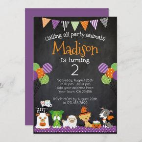 Halloween Puppies Birthday Invitation