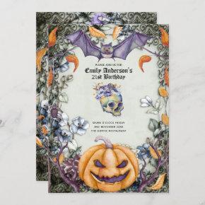 Halloween Skulls Trendy Party Invites Watercolor