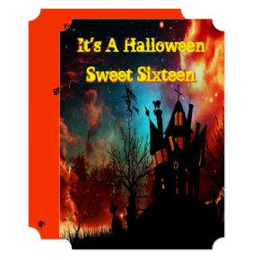Halloween, Spooky, Creepy Sweet Sixteen Invitations