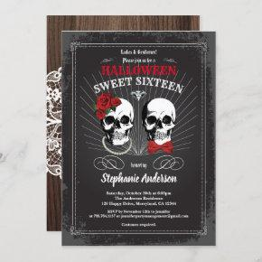 Halloween sweet sixteen 16 gothic black and red invitation
