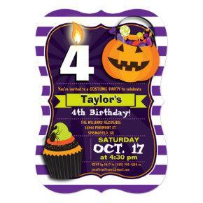 Halloween Theme Kids Birthday Costume Party Invitation
