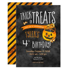 Halloween Trick or Treat Boy or Girl Birthday Invitations