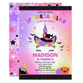 Halloween Unicorn Birthday Invite Halloween Party