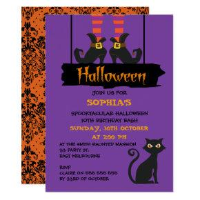 Halloween Witches Boots Birthday Party Invitation