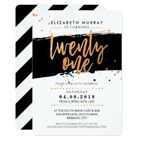 HAND LETTERED SCRIPT type trendy copper foil black Invitation