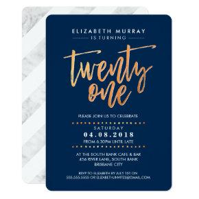 HAND LETTERED SCRIPT type trendy copper foil navy Invitation