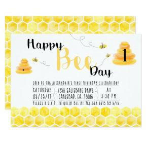 Happy Bee Day Black and Yellow Bee Themed Party Invitation