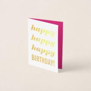 Happy Birthday Gold Foil  Invitation Pink