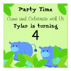 Happy Blue Hippos Birthday Party Invitation