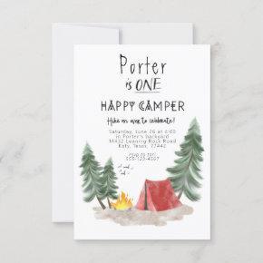 Happy camper first birthday invitation
