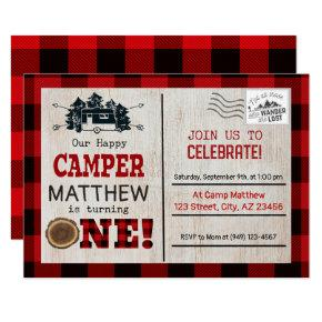 Happy Camper Lumberjack Flannel First Birthday Invitation